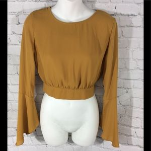 Ambiance open back mustard long-sleeve crop top S